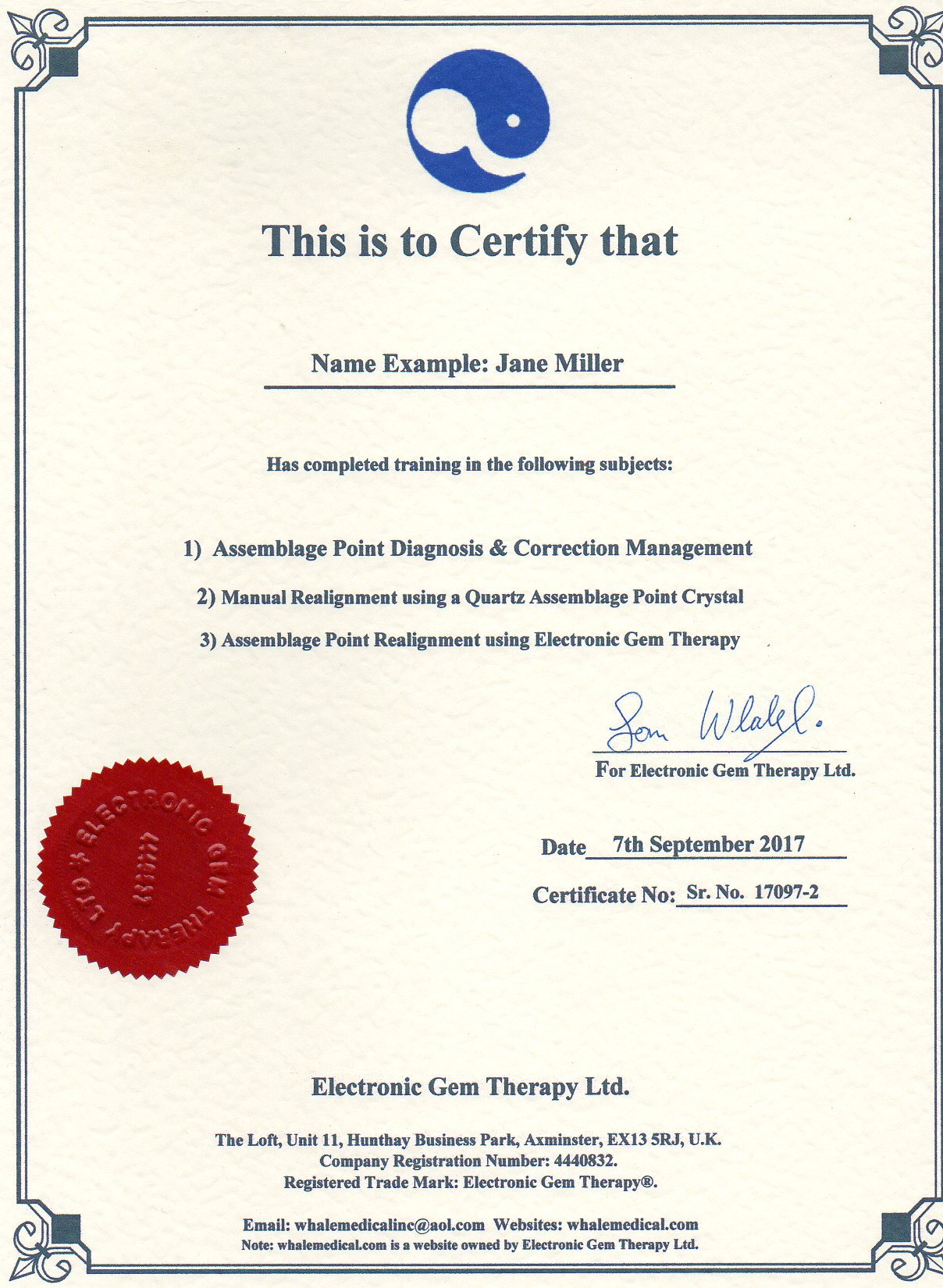 Training And Certificates For Electronic Gem Therapy Etc